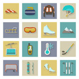 Winter sports flat icons set with shadows Royalty Free Stock Photography