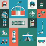 Winter Sports Gear Flat Icon Set Royalty Free Stock Photography