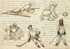 Winter sports - An hand drawn vector illustrations, line art Stock Image