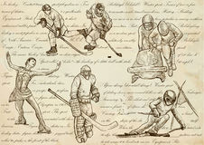 Winter sports - An hand drawn vector illustrations, line art Royalty Free Stock Photo