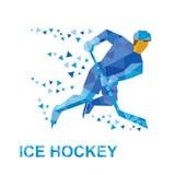 Winter sports: ice hockey. Player with stick rides on skates. Stock Photos
