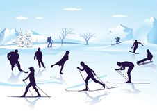 Winter sports on ice and snow. An illustration of a snowy and icy landscape with various winter sports activities like skiing and skating Stock Photo