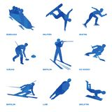 Winter sports icon set 1. Winter sports icon set. Nine silhouettes of athletes with deep blue pattern: bobsleigh, skating, ice hockey, snowboard, curling Stock Photo
