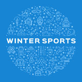 Winter sports icons, circle infographics for sporting event, contest, shop Royalty Free Stock Photo