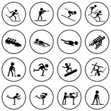Winter sports icons set. Stock Photo