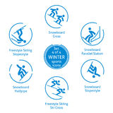 Winter sports icons set, vector pictograms. Winter sports icons set, 4 of 4, vector pictograms for web, print and other projects. 6 olympic species of events Royalty Free Stock Photo