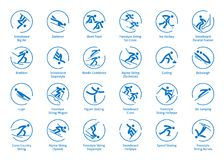 Winter sports icons set. Vector pictograms for web, print and other projects. All olympic species of events Royalty Free Stock Photos