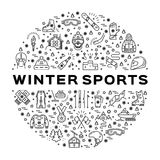 Winter sports infographics, Black thin line icons, Clothing and equipment Royalty Free Stock Images
