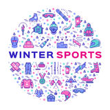 Winter sports infographics, Color thin line icons, Clothing and equipment Stock Photography