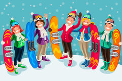 Winter Sports Isometric People Cartoon Characters Royalty Free Stock Photography