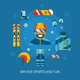 Winter Sports Kit and Boarder Man Royalty Free Stock Image