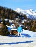 Winter sports in La Tzoumaz, Switzerland Royalty Free Stock Photos