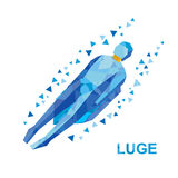 Winter sports: luge (sledging). Cartoon sportsman sledding Royalty Free Stock Photo