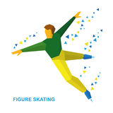 Winter sports - men`s single skating. Cartoon figure skater trai Royalty Free Stock Photo