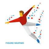 Winter sports - men`s single skating. Cartoon figure skater training Stock Image