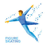 Winter sports - men`s single skating. Cartoon figure skater  Royalty Free Stock Photo