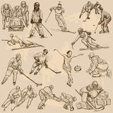 Winter sports, mix - An hand drawn vector collection. Sporting events, WINTER SPORT and Athletes in different situations. Vector collection of an hand drawn Stock Images