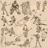 Winter sports, mix - An hand drawn vector collection. Sporting events, WINTER SPORT and Athletes in different situations. Vector collection of an hand drawn Royalty Free Stock Photo