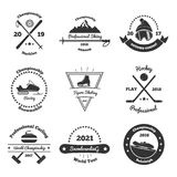 Winter Sports Monochrome Emblems. Of competitions with skiing, hockey, figure skating, snowboarding, biathlon, curling isolated vector illustration Stock Photography
