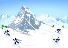 Winter sports, mountains Stock Photos