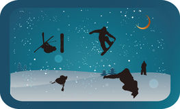 Winter sports at night Royalty Free Stock Image