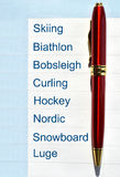Winter sports. In the notepad Stock Images