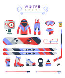 Winter sports objects, equipment collection, vector icons, flat Royalty Free Stock Photos