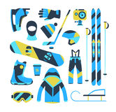 Winter sports objects, equipment collection, vector icons, flat Stock Images