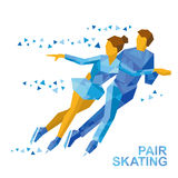 Winter sports - Pair Figure Skating. Man and woman on ice. Winter sports - Pair Figure Skating. Cartoon skating man and woman training. Ice show. Flat style Royalty Free Stock Images