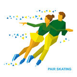 Winter sports - Pair Figure Skating. Man and woman on ice. Winter sports - Pair Figure Skating. Cartoon skating man and woman training. Ice show. Flat style Royalty Free Stock Photo