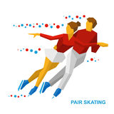 Winter sports - Pair Figure Skating. Man and woman on ice. Winter sports - Pair Figure Skating. Cartoon skating man and woman training. Ice show. Flat style Royalty Free Stock Photography