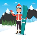 Winter sports pepople with snowboard and skis. Vector illustration graphic design Royalty Free Stock Photos