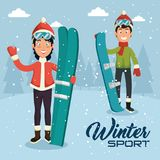 Winter sports pepople with snowboard and skis. Vector illustration graphic design Royalty Free Stock Images
