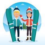Winter sports pepople with snowboard and skis. Vector illustration graphic design Royalty Free Stock Photo