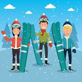 Winter sports pepople with snowboard and skis. Vector illustration graphic design Stock Photography