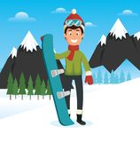 Winter sports pepople with snowboard and skis. Vector illustration graphic design Stock Photos
