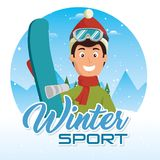Winter sports pepople with snowboard and skis. Vector illustration graphic design Stock Image