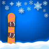 Winter sports poster background with snowboard Stock Images