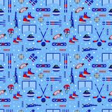 Winter sports repeated background. Sporting equipment vector seamless pattern. Ice hockey, skating, skiing, snowboarding stock illustration
