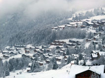 Winter sports resort in the mist. Stock Photography