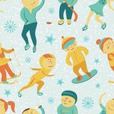 Winter Sports seamless pattern with children, Stock Photo
