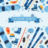 Winter sports seamless pattern with equipment flat Royalty Free Stock Image