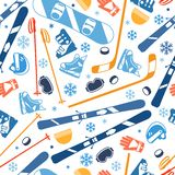 Winter sports seamless pattern with equipment flat Stock Photos