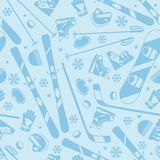 Winter sports seamless pattern with equipment flat Royalty Free Stock Photo