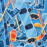 Winter sports seamless pattern with equipment Royalty Free Stock Photo