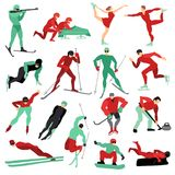 Winter Sports Set. Flat set of male and female people doing various winter sports isolated on white background vector illustration Stock Images