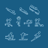 Winter sports silhouettes Royalty Free Stock Image