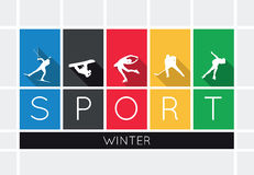The winter sports, silhouettes. On white background Royalty Free Stock Photography