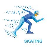 Winter sports - skating. Cartoon skater running on white Stock Image