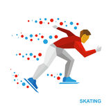 Winter sports - skating. Cartoon skater running on white Stock Photos